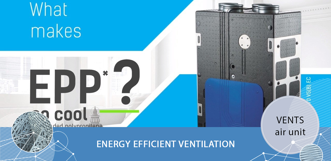 Single-room heat regeneration ventilation unit VENTS - Energy efficient ventilation